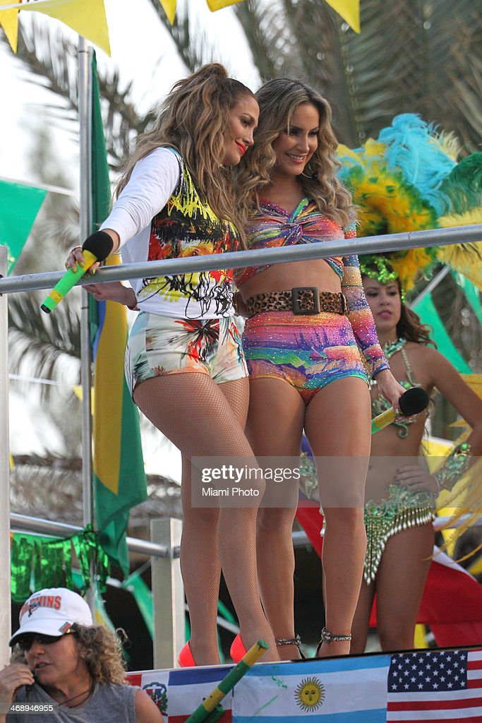 Jennifer Lopez and Claudia Leitte are sighted filming music video on February 11, 2014 in Fort Lauderdale, Florida.