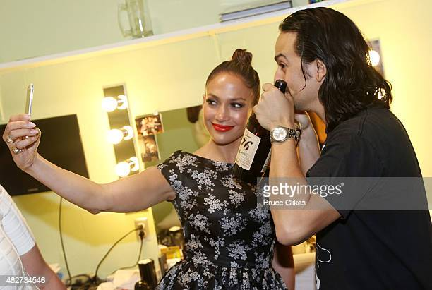 Jennifer Lopez and Composer/Lyricist/Star LinManuel Miranda take a selfie backstage at the hit new musical Hamilton on Broadway at The Richard Rogers...
