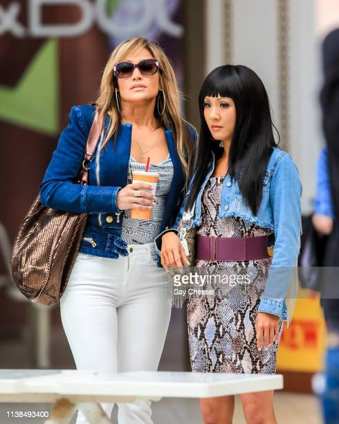 Jennifer Lopez and Constance Wu are seen filming 'Hustler' on March 26 2019 in New York City
