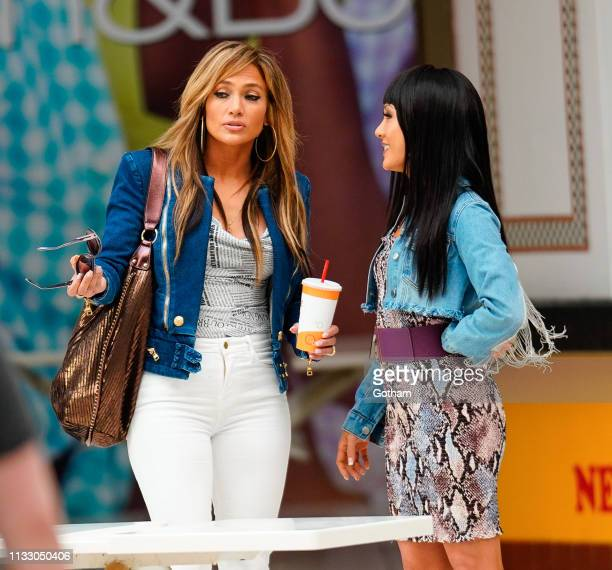 Jennifer Lopez and Constance Wu are seen on the set of 'Hustlers' on March 26 2019 in New York City