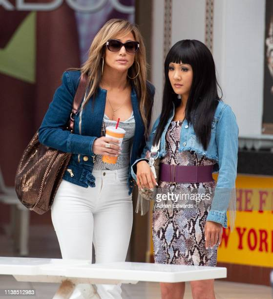 Jennifer Lopez and Constance Wu on set of Hustlers on March 26 2019 in New York City