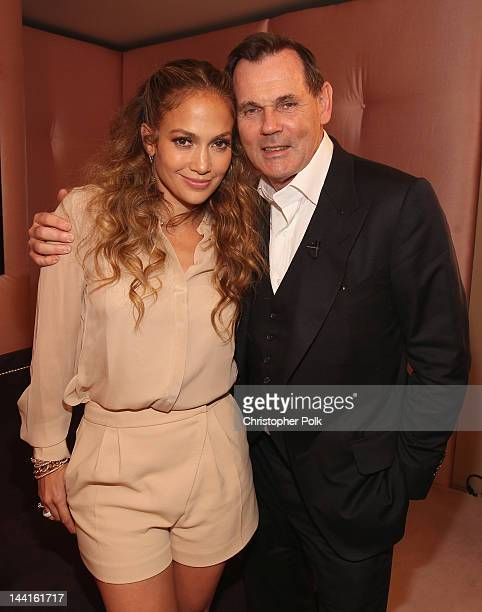 Jennifer Lopez and Coty Inc CEO Bernd Beetz celebrate 10 years of fragrance with Coty and the launch of her new scent Glowing by JLo at Hotel Bel Air...