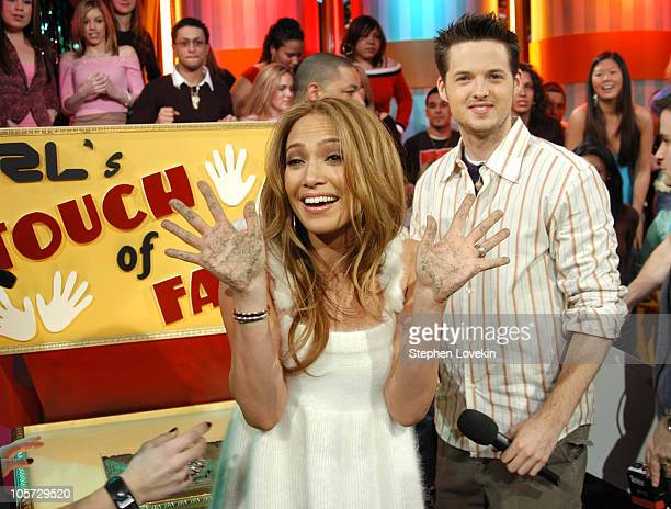 """Jennifer Lopez and Damien Fahey during Jennifer Lopez Visits MTV's """"TRL"""" - March 1, 2005 at MTV Studios - Times Square in New York City, New York,..."""