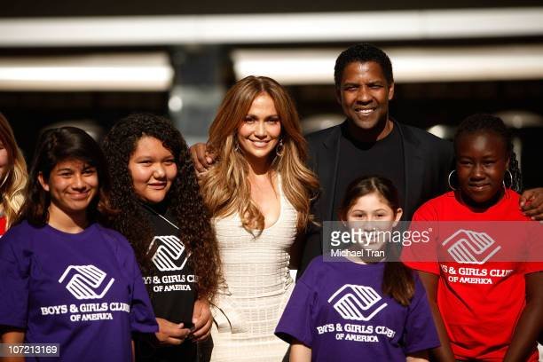 Jennifer Lopez and Denzel Washington attend the Boys And Girls Clubs of America announcement held at Nokia Theatre LA Live on November 30 2010 in Los...