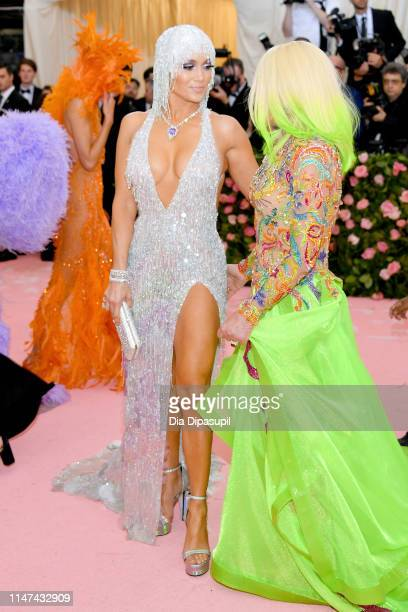 Jennifer Lopez and Donatella Versace attend The 2019 Met Gala Celebrating Camp Notes on Fashion at Metropolitan Museum of Art on May 06 2019 in New...