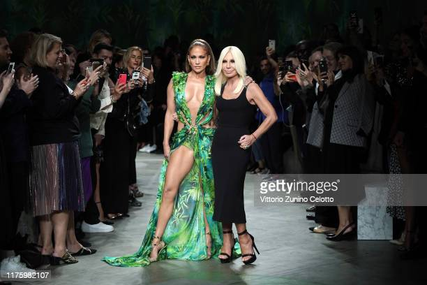 Jennifer Lopez and Donatella Versace walk the runway at the Versace show during the Milan Fashion Week Spring/Summer 2020 on September 20 2019 in...