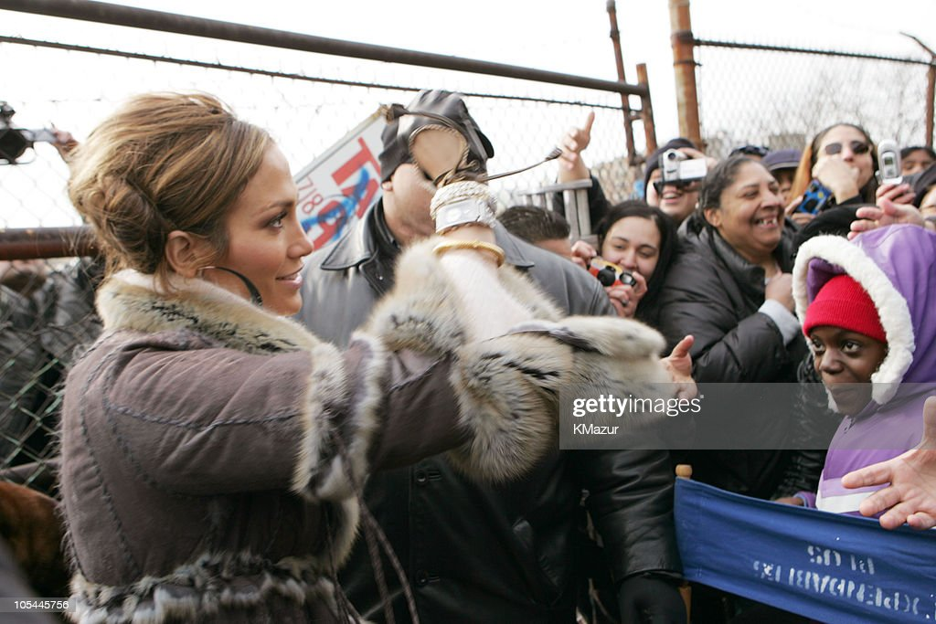 jennifer lopez and fans during jennifer lopez and fat joe shoot hold you down