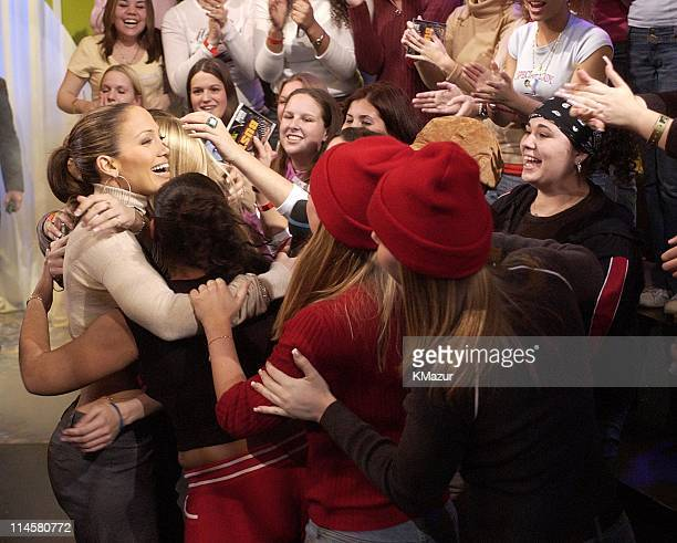 Jennifer Lopez and fans during Jennifer Lopez Visits MTV's TRL November 26 2002 at MTV Studios in New York City New York United States