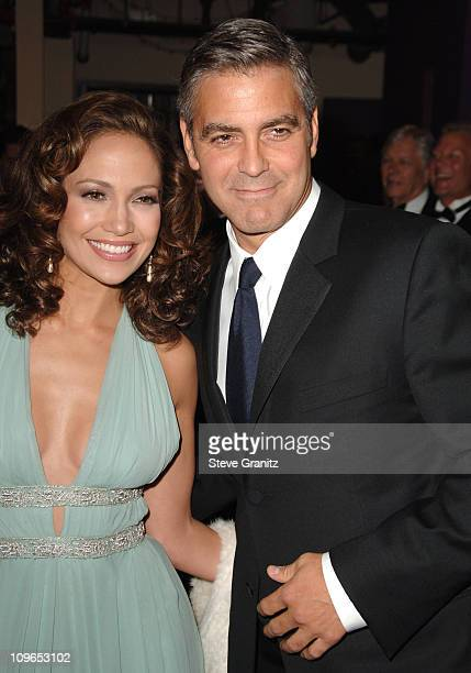 Jennifer Lopez and George Clooney during Singers and Songs Celebrate Tony Bennett's 80th to Benefit Paul Newman's Hole in the Wall Camps - Backstage...