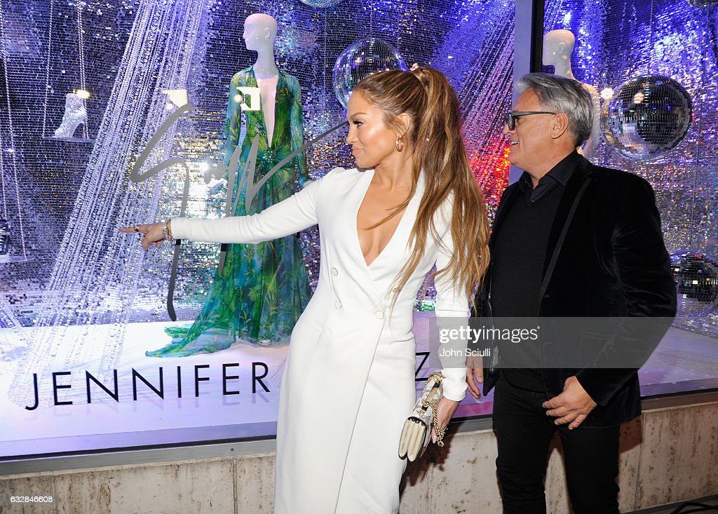 Jennifer Lopez (L) and Giuseppe Zanotti attend the Giuseppe for Jennifer Lopez Launch at Neiman Marcus Beverly Hills on January 26, 2017 in Beverly Hills, California.