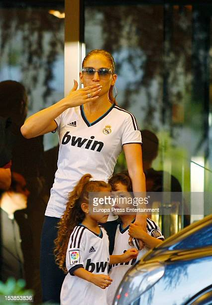 Jennifer Lopez and her children are sighted at their hotel wearing Real Madrid club shirts on October 7 2012 in Madrid Spain