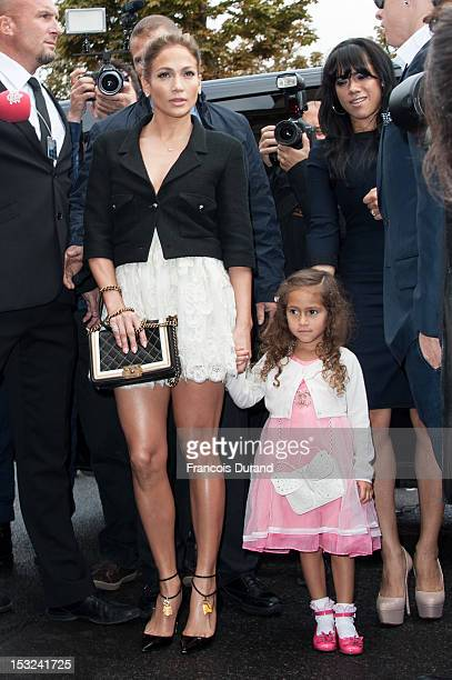 Jennifer Lopez and her daughter Emme Maribel Muniz arrive at the Chanel Spring / Summer 2013 show as part of Paris Fashion Week at Grand Palais on...