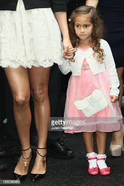 Jennifer Lopez and her daughter Emme Maribel Muniz attend the Chanel Spring / Summer 2013 show as part of Paris Fashion Week at Grand Palais on...