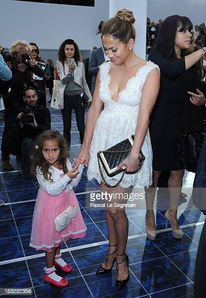Jennifer Lopez and her daughter Emme Maribel Muniz during the Chanel Spring / Summer 2013 show as part of Paris Fashion Week at Grand Palais on...