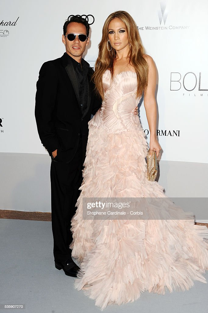 Jennifer Lopez and her husband Marc Anthony attend the '2010 amfAR's Cinema Against AIDS' Gala.