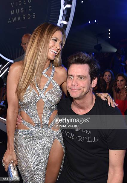 Jennifer Lopez and Jim Carrey attend the 2014 MTV Video Music Awards at The Forum on August 24 2014 in Inglewood California