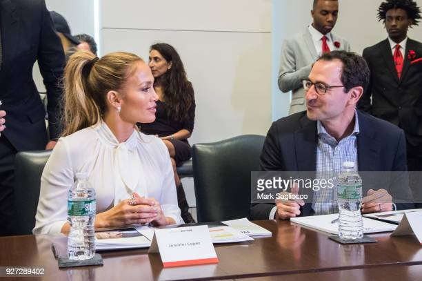 Jennifer Lopez and Jon Gray attend 'Project Destined' Yankees Shark Tank Presentations at Yankee Stadium on March 4 2018 in New York City