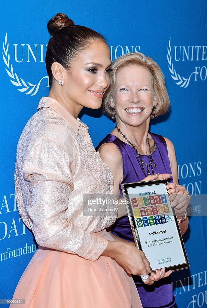 Jennifer Lopez (L) and Kathy Calvin, President and CEO, UN Foundation attend the UN Foundation's Gender Equality Discussion at The Four Seasons Restaurant on September 25, 2015 in New York City.