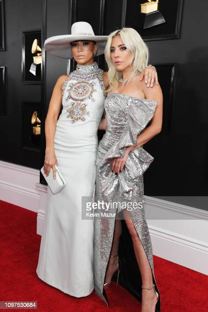 Jennifer Lopez and Lady Gaga attend the 61st Annual GRAMMY Awards at Staples Center on February 10 2019 in Los Angeles California