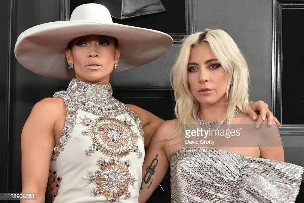 Jennifer Lopez and Lady Gaga attend the 61st Annual Grammy Awards at Staples Center on February 10, 2019 in Los Angeles, California.