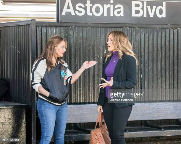Jennifer Lopez and Leah Remini are seen filming 'Second Act' on October 27 2017 in New York New York