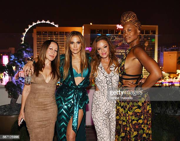 Jennifer Lopez and Leah Remini attend Jennifer Lopez's birthday at Nobu Villa Atop Nobu Hotel at Caesars Palace on July 24 2016 in Las Vegas Nevada