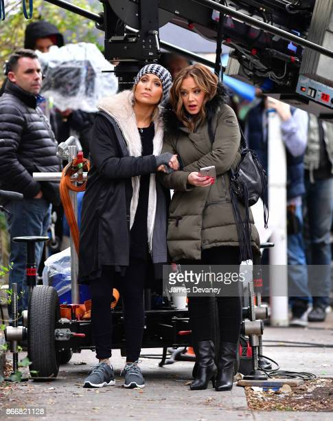 Jennifer Lopez and Leah Remini seen on location for 'Second Act' in Williamsburg on October 26 2017 in New York City