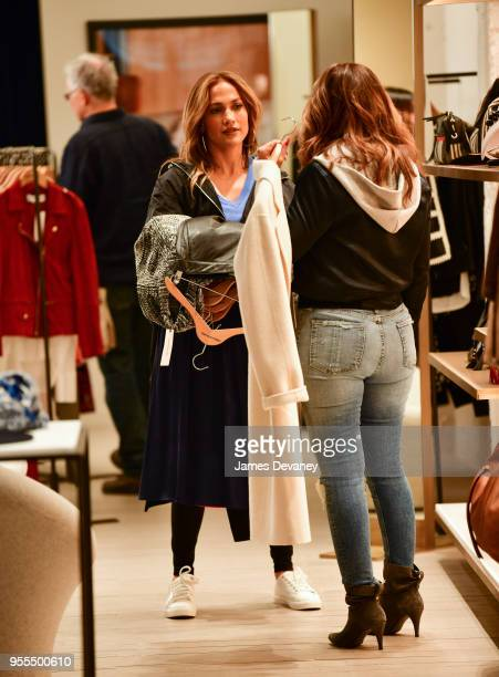 Jennifer Lopez and Leah Remini seen on location for 'Second Act' in SoHo on May 6 2018 in New York City