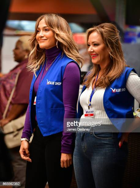 Jennifer Lopez and Leah Remini seen on location for 'Second Act' on October 23, 2017 in New York City.