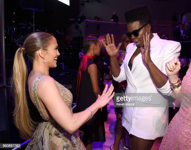 Jennifer Lopez and Leslie Jones attend the 2018 Time 100 Gala at Jazz at Lincoln Center on April 24 2018 in New York CityÊ