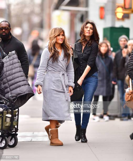 Jennifer Lopez and Lynda Lopez seen on location for 'Hustlers' at Gansevoort Meatpacking NYC on March 28 2019 in New York City