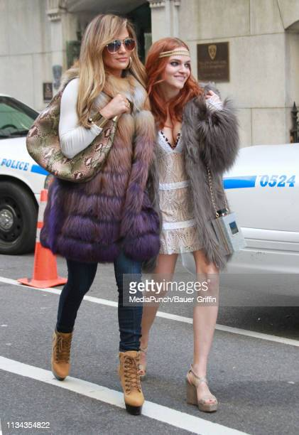 Jennifer Lopez and Madeline Brewer are seen on the set of the Hustlers on April 01 2019 in New York City