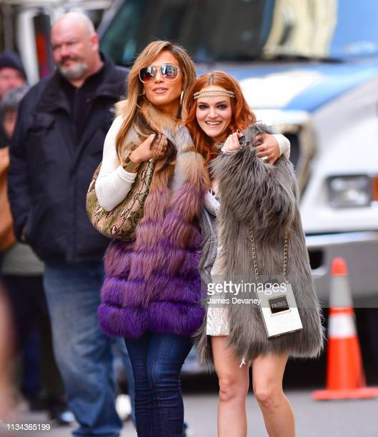 Jennifer Lopez and Madeline Brewer seen filming on location for Hustlers in Manhattan on April 1 2019 in New York City