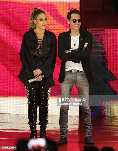 Jennifer Lopez and Marc Anthony are seen at the Jennifer Lopez Gets Loud for Hillary Clinton at GOTV Concert in Miami at Bayfront Park Amphitheatre...