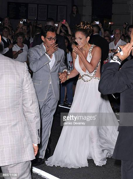 Jennifer Lopez and Marc Anthony arrive to celebrate Jennifer's 40th birthday at the Edison Ballroom on July 25 2009 in New York City