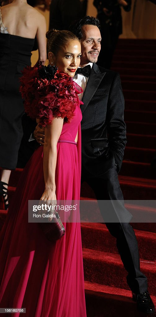 Jennifer Lopez and Marc Anthony attend 'Alexander McQueen: Savage Beauty' Costume Institute Gala on April 2, 2011 at the Metropolitan Museum of Art in New York City.
