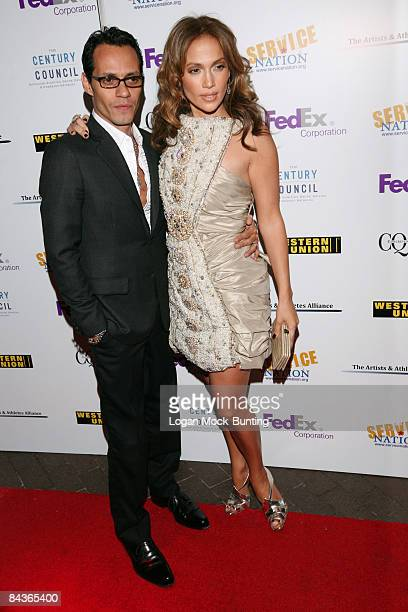 Jennifer Lopez and Marc Anthony attend the Artists And Athletes Alliance red carpet event at Inaugural Honors ServiceNation, held at Cafe Milano in...