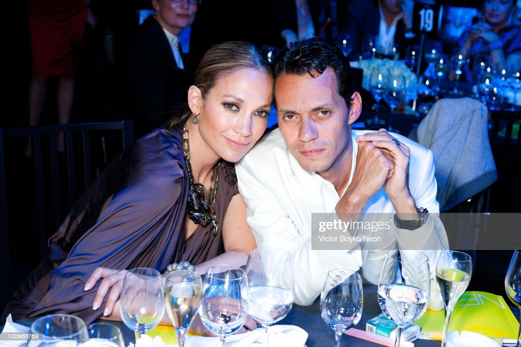 Jennifer Lopez and Marc Anthony attend the NEON Charity Gala in aid of the IRIS Foundation on May 24, 2010 in Moscow, Russia.