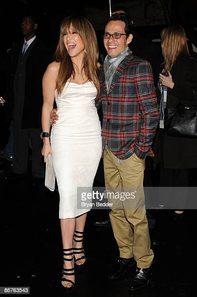 Jennifer Lopez and Marc Anthony attends the TOPSHOP TOPMAN private dinner to celebrate the flagship store opening at Balthazar on April 1 2009 in New...