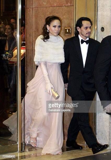 Jennifer Lopez and Marc Anthony leave the Hassler Hotel prior to the wedding of actors Katie Holmes and Tom Cruise at Castello Odescalchi on November...