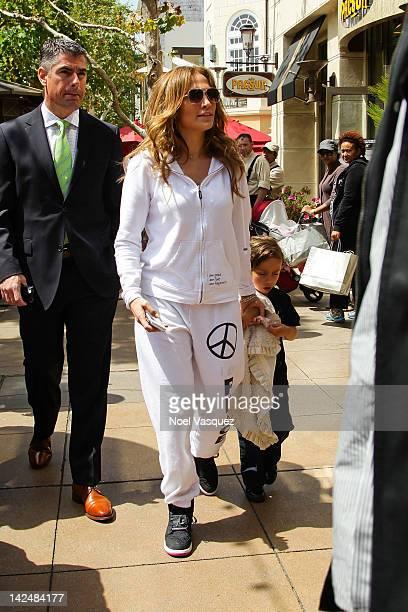 Jennifer Lopez and Maximilian David Muniz visit The Grove on April 5 2012 in Los Angeles California