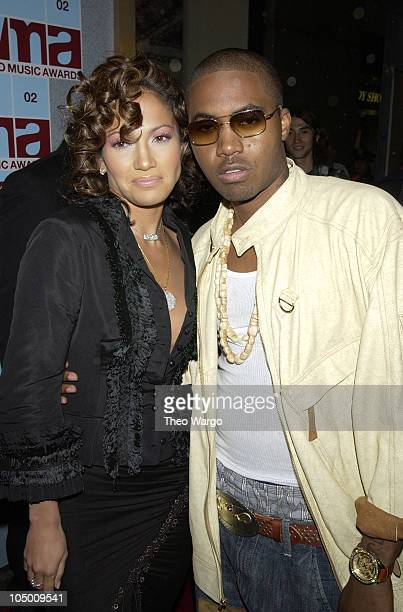 Jennifer Lopez and Nas during 2002 MTV Video Music Awards Arrivals at Radio City Music Hall in New York City New York United States