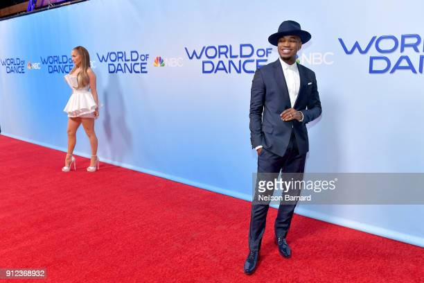 Jennifer Lopez and NeYo attend a photo op for NBC's 'World Of Dance' at NBC Universal Lot on January 30 2018 in Universal City California