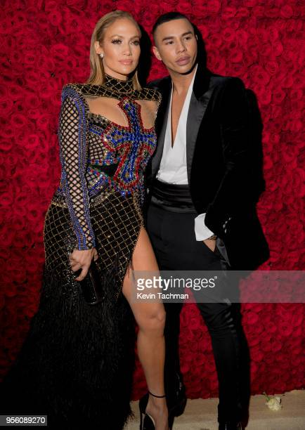 Jennifer Lopez and Olivier Rousteing attend the Heavenly Bodies Fashion The Catholic Imagination Costume Institute Gala at The Metropolitan Museum of...