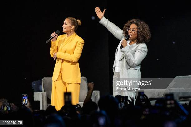 Jennifer Lopez and Oprah speak onstage during 'Oprah's 2020 Vision Your Life in Focus Tour' presented by WW at The Forum on February 29 2020 in...