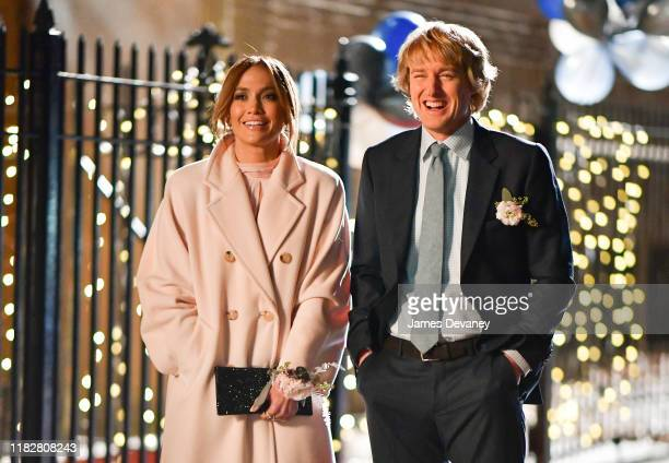 Jennifer Lopez and Owen Wilson seen filming on location for 'Marry Me' in Clinton Hill on November 15 2019 in New York City
