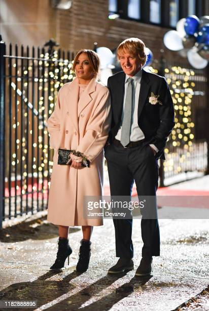 Jennifer Lopez and Owen Wilson seen filming on location for 'Marry Me' in Clinton Hill on November 15, 2019 in New York City.