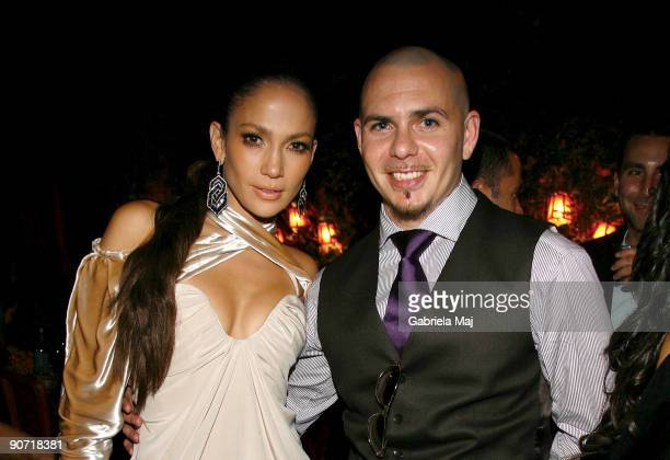 Jennifer Lopez and Pitbull attend a post VMA dinner at The Waverly Inn on September 13 2009 in New York City