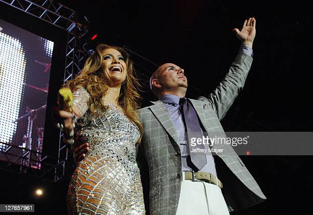 Jennifer Lopez and Pitbull perform at KIIS FM's 2011 Wango Tango Concert at Staples Center on May 14 2011 in Los Angeles California