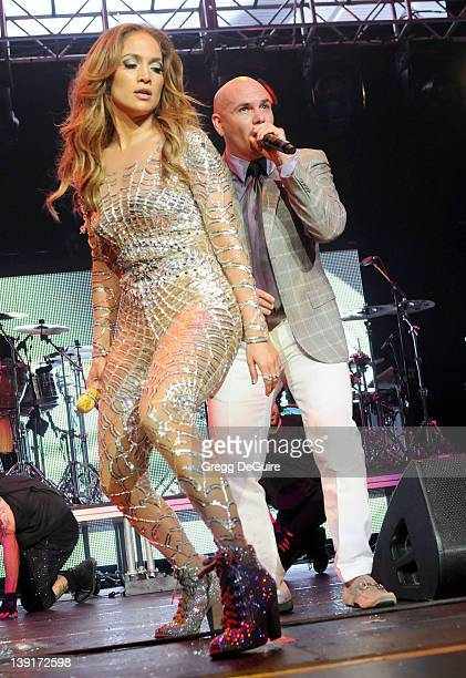 Jennifer Lopez and Pitbull perform at KIIS FM's Wango Tango 2011 concert at Staples Center on May 15 2011 in Los Angeles California